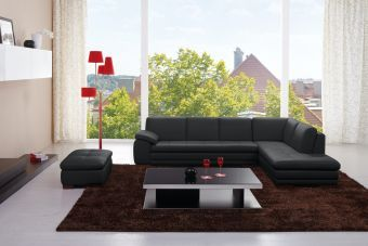 ✅ 625 Italian Leather Sectional Black in Right Hand Facing | VivaSalotti.com | pic2