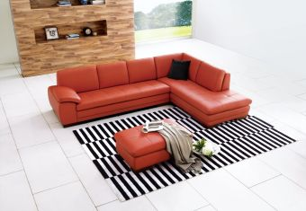 ✅ 625 Italian Leather Sectional Pumpkin in Right Hand Facing | VivaSalotti.com | pic1