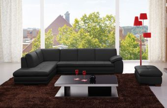 ✅ 625 Italian Leather Sectional Black in Left Hand Facing | VivaSalotti.com | pic1