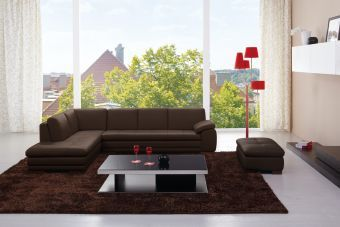 625 Italian Leather Sectional Brown in Left Hand Facing