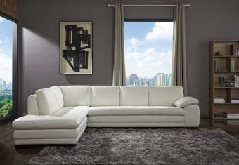 ✅ 625 Italian Leather Sectional White in Left Hand Facing | VivaSalotti.com | pic1