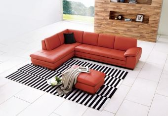 625 Italian Leather Sectional Pumpkin in Left Hand Facing