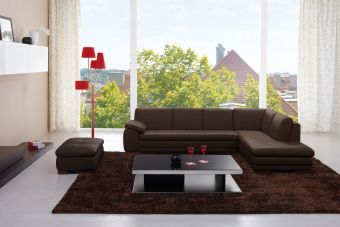 625 Italian Leather Sectional Brown in Right Hand Facing