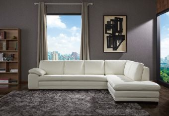 ✅ 625 Italian Leather Sectional White in Right Hand Facing | VivaSalotti.com | pic2