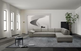 ✅ 625 Italian Leather Sectional Grey in Right Hand Facing  | VivaSalotti.com | pic1