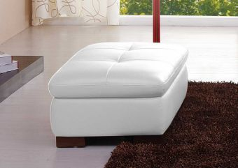 625 Italian Leather Ottoman in White