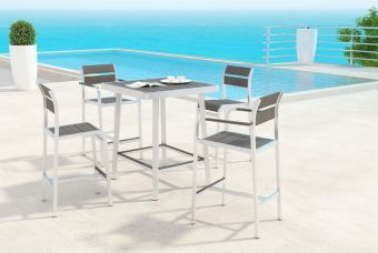 Megapolis Bar Arm Chair Brushed Aluminum (Set of 2)