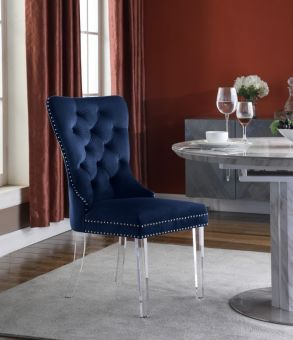 Miley Velvet Dining Chair with Acrylic Legs, Navy