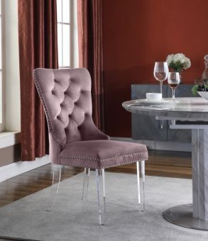 Miley Velvet Dining Chair with Acrylic Legs, Pink