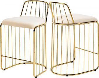 Gio Velvet Counter Stool, Cream/Gold