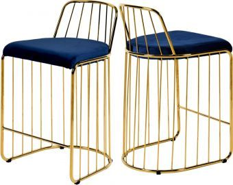 Gio Velvet Counter Stool, Navy/Gold