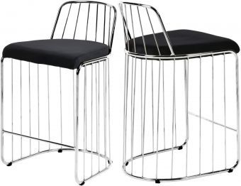 Gio Velvet Counter Stool, Black/Chrome