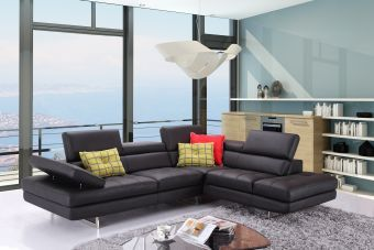 A761 Italian Leather Sectional Slate Black In Right Hand Facing