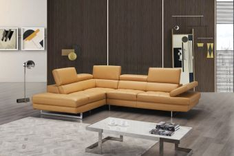 A761 Italian Leather Sectional Freesia In Left Hand Facing Chaise