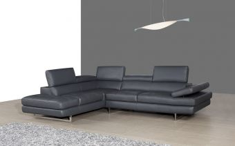 A761 Italian Leather Sectional Slate Grey In Left Hand Facing