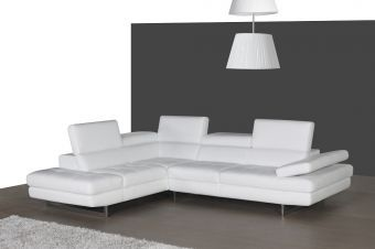 ✅ A761 Italian Leather Sectional White In Left hand Facing | VivaSalotti.com
