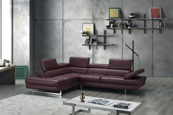 A761 Italian Leather Sectional Maroon In Left Hand Facing Chaise