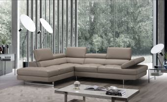 A761 Italian Leather Sectional, Left Hand Facing, Peanut