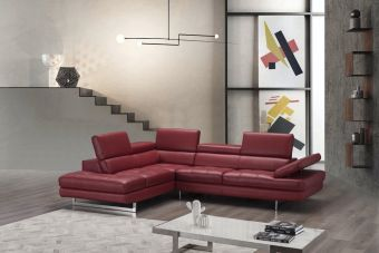 A761 Italian Leather Sectional Red In Left Hand Facing Chaise