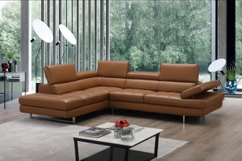 A761 Italian Leather Sectional Caramel In Left Hand Facing Chaise