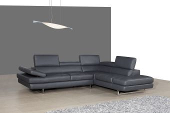 A761 Italian Leather Sectional Slate Grey In Right Hand Facing