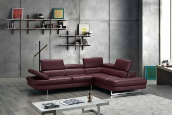 ✅ A761 Italian Leather Sectional Maroon In Right Hand Facing Chaise | VivaSalotti.com | pic5
