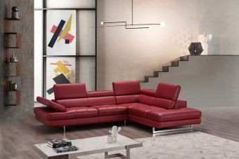 ✅ A761 Italian Leather Sectional Red In Right Hand Facing Chaise | VivaSalotti.com | pic5