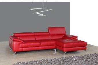 A973B Italian Leather Mini Sectional Right Facing Chaise in Red