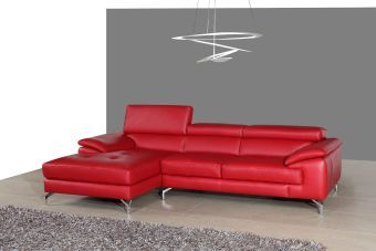 ✅ A973B Italian Leather Mini Sectional Left Facing Chaise in Red | VivaSalotti.com | pic1