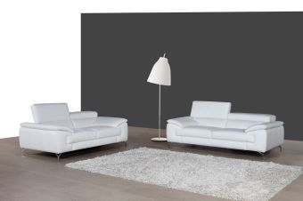 ✅ A973 Italian Leather Sofa in White | VivaSalotti.com | pic1