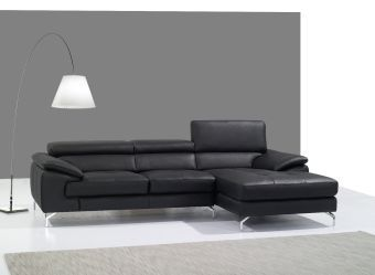 A973B Italian Leather Mini Sectional Right Facing Chaise in Black