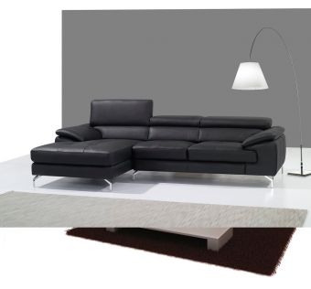 ✅ A973B Italian Leather Mini Sectional Left Facing Chaise in Black | VivaSalotti.com | pic1