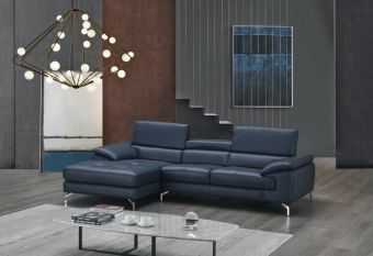 ✅ A973B Italian Leather Mini Sectional Blue In Left Facing Chaise | VivaSalotti.com | pic4