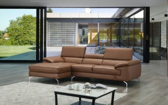 ✅ A973B Italian Leather Mini Sectional Caramel In Left Facing Chaise | VivaSalotti.com | pic4