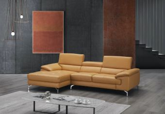 A973B Italian Leather Mini Sectional Caramel In Left Facing Chaise