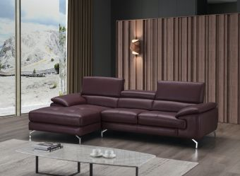 ✅ A973B Italian Leather Mini Sectional Maroon In Left Facing Chaise | VivaSalotti.com | pic