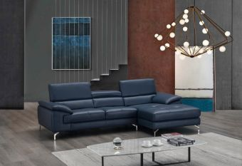 ✅ A973B Italian Leather Mini Sectional Blue In Right Facing Chaise | VivaSalotti.com | pic5