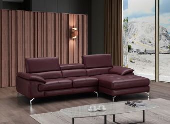 ✅ A973B Italian Leather Mini Sectional Maroon In Right Facing Chaise | VivaSalotti.com | pic5