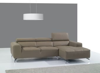 ✅ A978B Italian Leather Sectional Right Facing Chaise in Burlywood | VivaSalotti.com | pic2