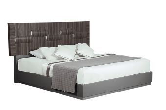 Adel Zebra Wood High Gloss Grey Queen Bed