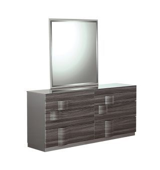 Adel Zebra Wood High Gloss Grey Mirror