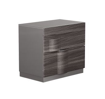 Adel Zebra Wood Grey High Gloss Nightstand