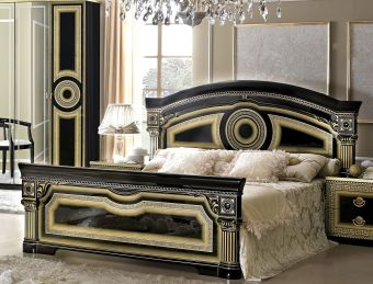 ✅ Aida Classic Queen Bed by ESF, Black and Gold | VivaSalotti.com | pic7
