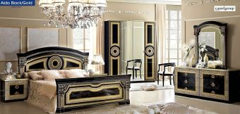 ✅ Aida Classic Bedroom Set by ESF, Black and Gold | VivaSalotti.com | pic9