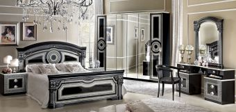 ✅ Aida Classic Bedroom Set by ESF, Black and Silver | VivaSalotti.com | pic2