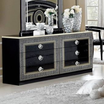✅ Aida Classic Double Dresser by ESF, Black and Silver | VivaSalotti.com | pic3