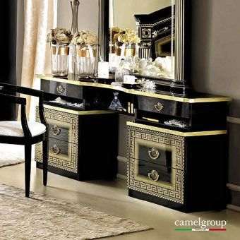 ✅ Aida Classic Vanity Dresser by ESF, Black and Gold | VivaSalotti.com | pic7
