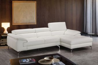 ✅ Alice Premium Leather Sectional In Right Facing Chaise | VivaSalotti.com | pic1