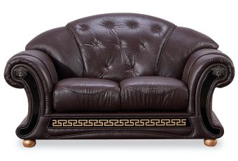 ✅ Apolo Brown Italian Leather Loveseat by ESF | VivaSalotti.com | pic1