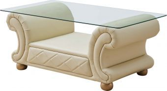 ✅ Apolo Ivory Italian Leather Coffee Table by ESF | VivaSalotti.com | pic1
